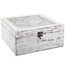 Whitewash Toulouse Wooden Deco Boxes (Set of 2)