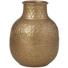 Antique Gold Amala Metal Vases (Set of 2)