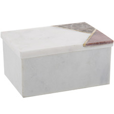 Large White Levatina Marble & Stone Deco Boxes (Set of 2)