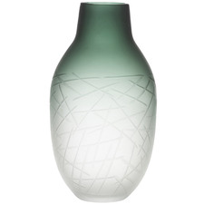 Large Frosted Green Arden Glass Vases (Set of 2)