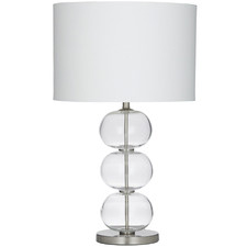 Brushed Silver Lily Glass Table Lamps (Set of 2)