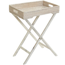 Haven Rattan & Wood Foldable Tray Tables (Set of 2)