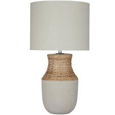 Panama Ceramic & Rattan Table Lamps (Set of 2)