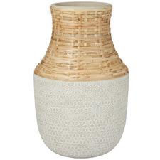 Grey Panama Ceramic & Rattan Vases (Set of 2)