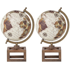 Giolo World Globes On Wooden Stand (Set of 2)