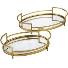 Gold Distressed Talima Metal Decorative Trays (Set of 2)