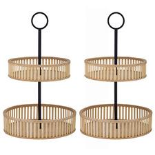 Bonita 2 Tier Bamboo Serving Trays (Set of 2)