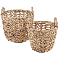 2 Piece Pat Water Hyacinth Basket Set