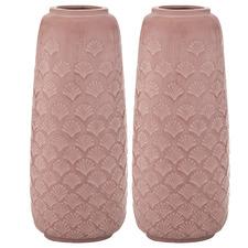 Salmon Aurin Ceramic Vases (Set of 2)