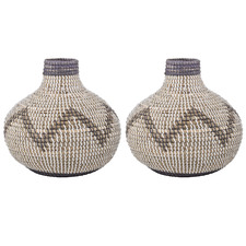 Wide Razi Seagrass Vases (Set of 2)