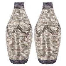 Tall Razi Seagrass Vases (Set of 2)