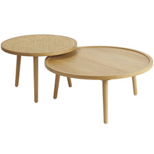 2 Piece Satali Wood & Cane Coffee Table Set