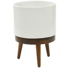 White Heal Ceramic Planter Pots on Stand