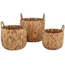 3 Piece Natural Andaz Water Hyacinth Basket Set