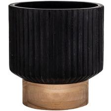 Black Ribbed Mayon Cement Pot Planter
