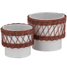 2 Piece Watego Ceramic & Rattan Pot Planter Set