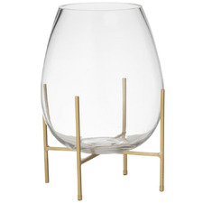 Allegra Glass Vase on Metal Stand