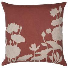 Coral Floral Laurel Cotton Cushions (Set of 2)