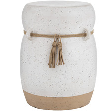 White Speckled Mani Ceramic Side Table