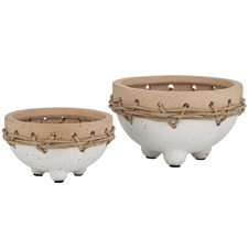 2 Piece Speckled Mani Ceramic Pot Planter Set