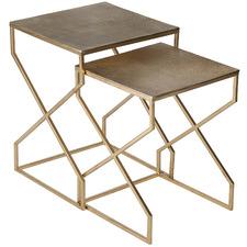 2 Piece Champagne Gold Korban Aluminium Nesting Side Table Set