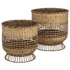 2 Piece Natural Coral Bamboo Basket Set