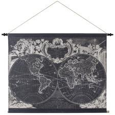 Black Global Map Linen Wall Hanging