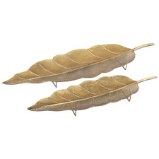 2 Piece Aurelia Leaf Decorative Tray Set