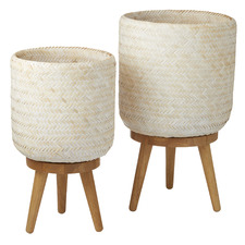 2 Piece Samaya Bamboo Planters on Stand Set