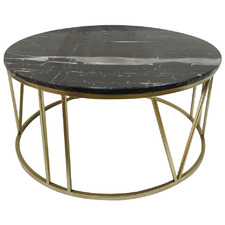 Black & Gold Shelby Marble-Top Coffee Table