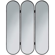 Black Forum Oval Metal Tri-Fold Mirror