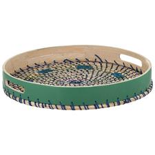 Blue & Green Rheta Bamboo & Seagrass Serving Tray