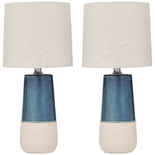 Blue & Natural Nash Ceramic Table Lamps (Set of 2)