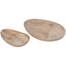 2 Piece Abner Mango Wood Trinket Plate Set