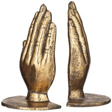 2 Piece Gold Praying Hands Metal Bookend Set