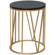 Black & Gold Shelby Marble-Top Side Table