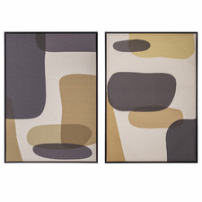 Shaped Framed Canvas Wall Art Diptych