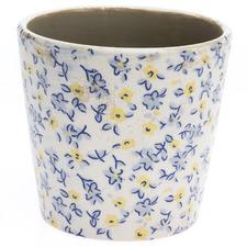 Forget Me Not Glazed Ceramic Planter