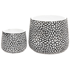 2 Piece Mandala Ceramic Planter Set