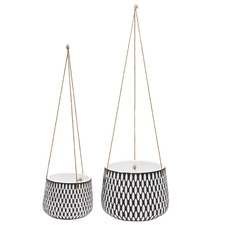 2 Piece Fomesh Ceramic Hanging Planter Set