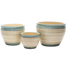3 Piece Marsala Ceramic Planter Set