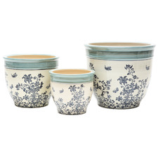 3 Piece Cobalt Ceramic Planter Set