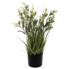 65cm Potted Faux White Lavender Grass
