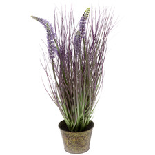 50cm Potted Faux Purple Lavender Grass