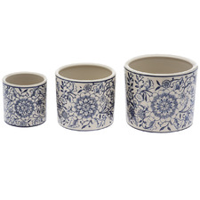 3 Piece Tuscany Ceramic Plant Pot Set