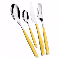 24 Piece Yellow Glamour Stainless Steel Cutlery Set