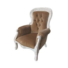 Carved Mahogany Armchair in Brown