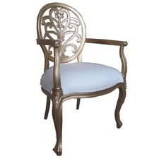 Mahogany Boudoir Chair in Carved Gold