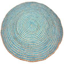 Blue Plaited Hand Made Round Jute Rug
