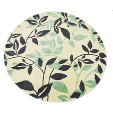 Green Leaf Halb Round Wool-Blend Rug